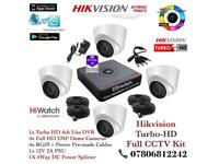 Hikvision HiWatch CCTV Kit, 4CH Hikvision Turbo-HD Cube DVR 1TB HDD, 4x Hikvison 1080P Dome Cameras