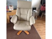 Cream faux leather swivel chair