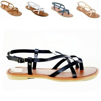 Women  Sandals  Gladiator Thong Flops T Strap Flip Flat  size Strappy  Black,Tan Black Gladiator Flat Sandals