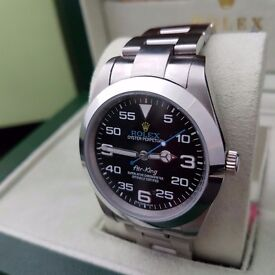 silver Rolex Air-King with black face silver casing & silver oyster bracelet comes in Rolex box bag