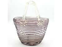 Laguna Murano Italian Glass Handbag Clutch Bag Clear Purple Stripes 18 x 14cm
