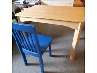 Solid Desk Table Wooden Wood Children Kids with chair