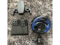 Logitech force feedback driving force wheel plus pedals knee support for ps2