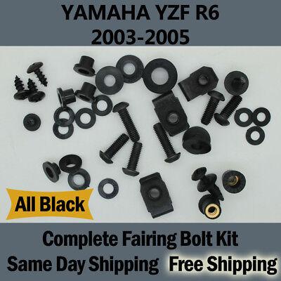 2005 Yamaha R6 Bolt - Complete Black Fairing Bolt Kit Body Screws for Yamaha 2003-2005 YZF R6 03 04 Fd