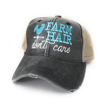 Womens Trucker Hat (Womens Custom Trucker Farm Hair Don't Care Distressed Baseball Cap)