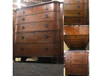 Stunning huge antique mahogany chest drawer dresser bow front