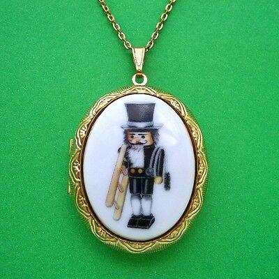 Porcelain CHRISTMAS NUTCRACKER CHIMNEY SWEEP CAMEO GT Locket Necklace for Gift