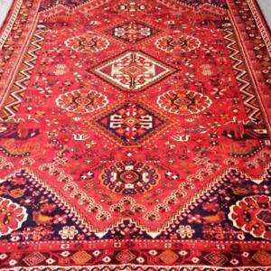 Shiraz Semi-Antique Persian Rug, Handmade Carpet, Wool, Red, Navy Blue, Orange, Pink and Green Size: 9.7 X 6.6 ft