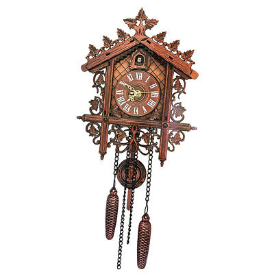 Antique Style Wooden Cuckoo Wall Clock w/ Pendulum for Bedroom Living Room