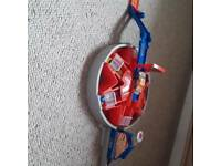 Hot wheels track and round about launcher includes 5 cars