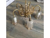 Gold and glass 5 light chandelier