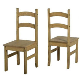Vintage Corona Solid Pine Pair of Low Back Dining Chairs