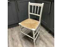Vintage Painted Children's Chair with Rush Seat and Lovely Detail