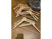 Lot of wooden clothing hangers