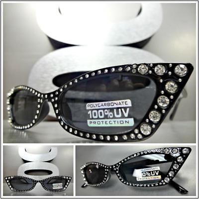Classy Retro Cat Eye Style SUN GLASSES Black Frame Sparkling Bling (Bling Cat Eye Sunglasses)