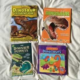 Dinosaur themed collection: Books (majority brand new),magnets, board game