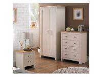 Brand New * 3 Piece Lancaster Bedroom Set Cream with Oak Effect Tops Wardrobe Drawer Chest Bedside