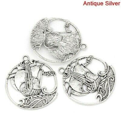 5Pcs Round Hollow Pirate Ship Carved Pendants Nautical Jewelry Necklace Making