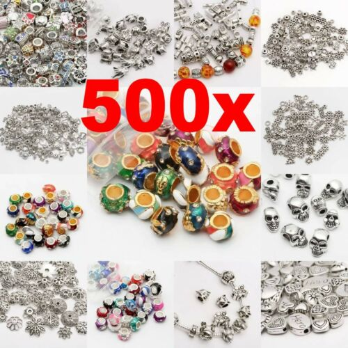 Beads - Wholesale 500Pcs Tibet Silver Beads Spacer For Jewelry Making European Bracelet