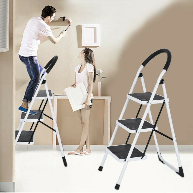 Folding 3-Step Steel Frame Stool with Multi-Use for Househol