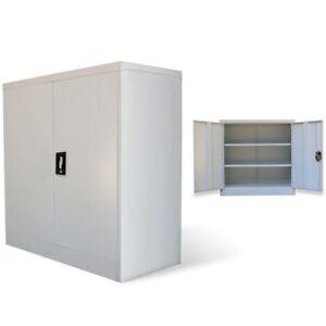 2 Door Office Cabinet Tool Locker File Storage Cupboard Metal Gray Lockable