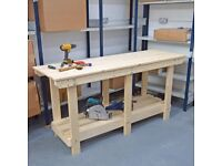 Wooden Workbench | Craft table | Size options | VERY STRONG & RIGID | Extra shelf options