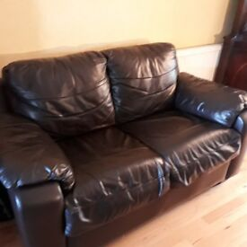 2 seater black leather settee sofa