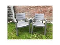 Garden chairs (pair) grey/brown