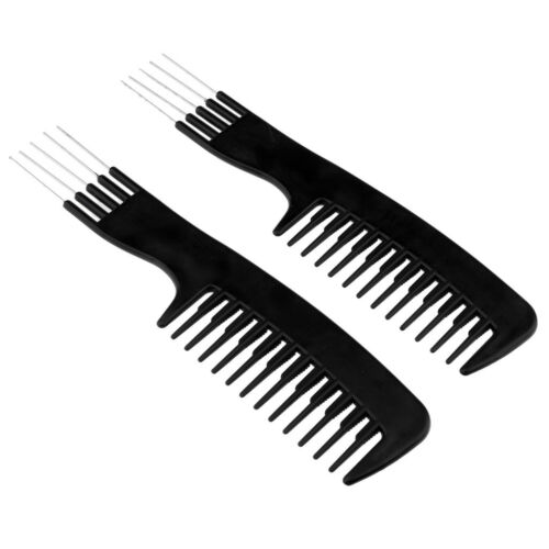 2pcs Insert Afro Hair Pick Comb Wide Teeth Comb Brush with M