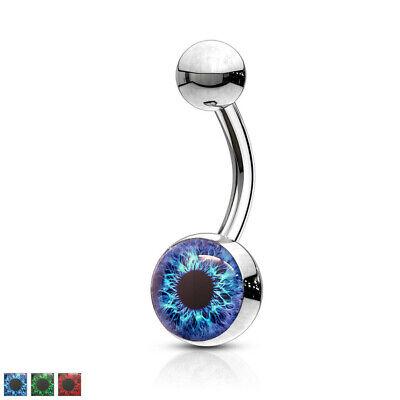 Belly Ring 14g 14 Gauge - Eyeball Logo Belly Ring Navel Naval Eye Ball 14g 14 gauge 10mm 3/8
