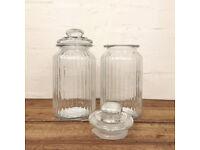 2x Glassed Storage Kitchen Container Jars