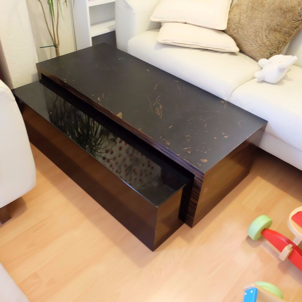 Coffee Table Good Used Condition Black Glass and wood Furniture