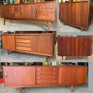 REFINISHED Mid Century Modern Teak, Walnut, Rosewood Sideboards TV Media Consoles Buffets Displays Shelving