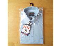 PIERRE CARDIN Mens Shirt SHORT SLEEVE Plain Blue S Small REGULAR FIT Brand NEW