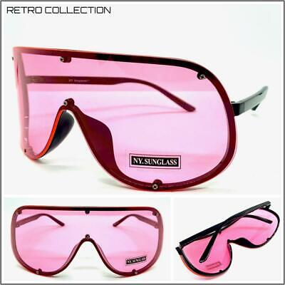 OVERSIZED RETRO FACE SHIELD VISOR SUN GLASSES Huge Jumbo Big XL Frame Pink (Huge Hipster Glasses)