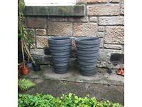 2 tall stone-effect garden planters