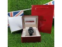 Omega Seamaster Brown Leather Strap Black Face - Complete Set Box And Papers 1 Year Free Warranty