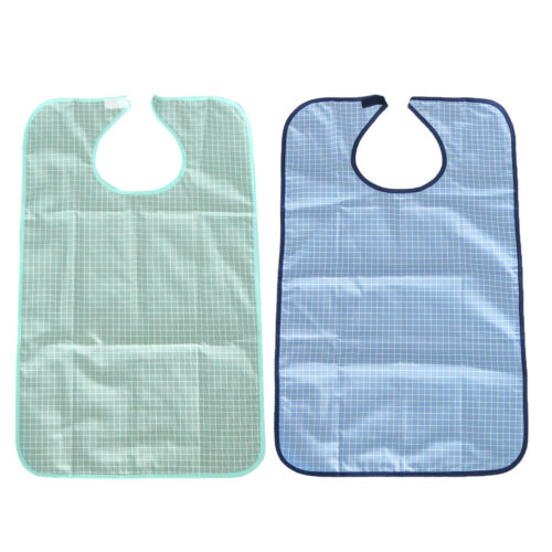 2 Pcs Adult Bib Reusable Clothing Protector Waterproof Senio