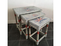 Nest Of Tables small sidetables chalkpaint Artist Handpainted Shabby Chic Folkart Swedish French