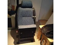 Space saver single rear seat with 3 point seat belt.