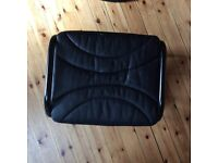 Rocking recliner chair and foot stool. Very comfy. Black faux leather. Try it to believe it!