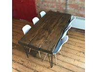 Handmade wooden 6 person table, made from reclaimed raily sleepers