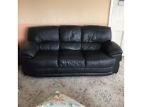 Black Leather sofa and reclining armchair
