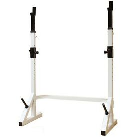 USED MAX FITNESS ADJUSTABLE 7FT BARBELL/WEIGHTS SQUAT STAND/SPOTTERS GYM POWER RACK