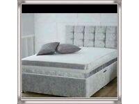 Brand New 3FT Single Crush Velvet Bed Set ( Crush Velvet Base & Orthopaedic Mattress ) Fast Delivery