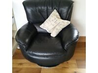 Black Leather 2 seater sofa and 1 swivel chair. Good condition. Collection Sawtry