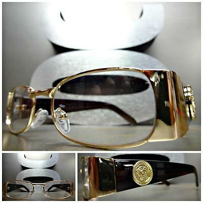 CLASSIC VINTAGE RETRO Style Clear Lens EYE GLASSES Rose Gold Brown Fashion Frame