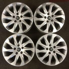 Set 4 Genuine Seat Leon 16 inch alloy wheel rims new model 10 spokes. suit Exeo also Golf Caddy