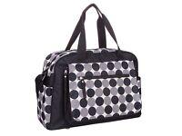 Designer Luxury Baby Nappy Changing Bag Set Diaper Bag Black Grey