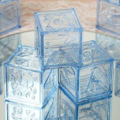 (24 pcs Light Blue Plastic Baby Boy Shower Favors Blocks Party Decorations SALE)